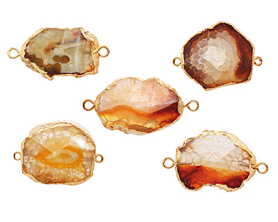 Golden Druzy Pendant Link set in Gold (plated) 35-42x25-35mm