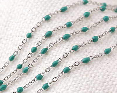 Stainless Steel Turquoise Tiny Cable Chain