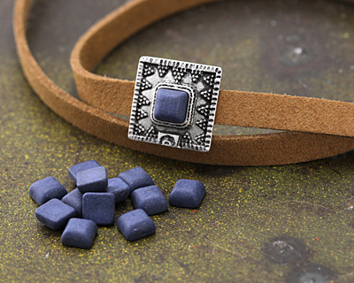 Matte Navy Blue Resin Square Cabochon 6mm