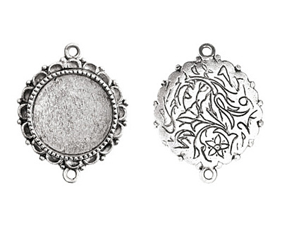Nunn Design Antique Silver (plated) Large Ornate Circle Bezel Link 37x30mm
