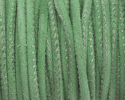 Bright Green Stitched Suede Round Leather Cord 2.5mm