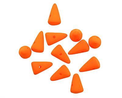 Czech Glass Bright Neon Orange Baby Spike 4.5x8mm