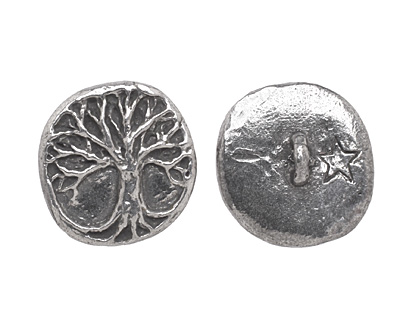 Green Girl Pewter Tree of Life Button 18mm