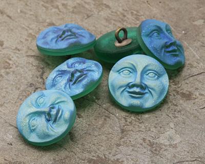 Czech Glass Matte Emerald AB Moon Face Button 17mm
