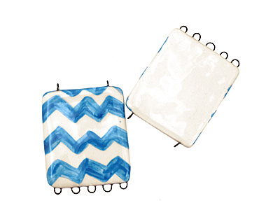 Jangles Ceramic Blue Chevron Pendant 2-5 Link 56x43mm