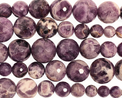 Dogtooth Amethyst Faceted Round Graduated 12-28mm