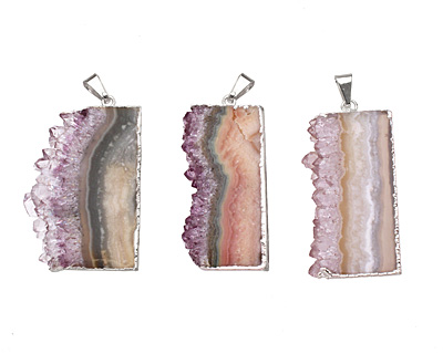 Amethyst Slice Pendant Set in Silver (plated) 22-25x47-48mm