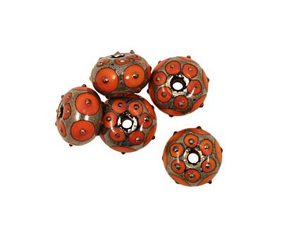 Grace Lampwork Coral w/ Metal Dots Rondelle 10x16mm