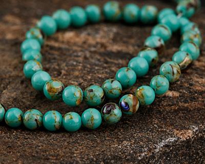 Sea Green Mosaic Shell Round 4mm