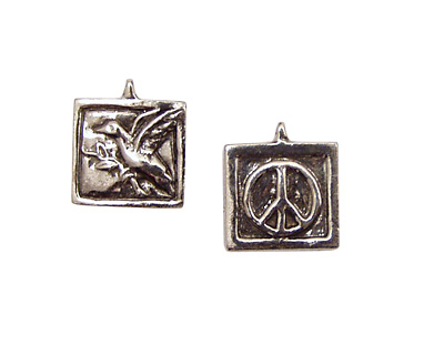 Green Girl Pewter Peace Dove 16x18mm