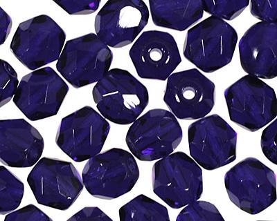 Czech Fire Polished Glass Cobalt Round 4mm
