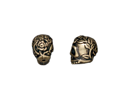 TierraCast Antique Brass (plated) Rose Skull Bead 10x7mm