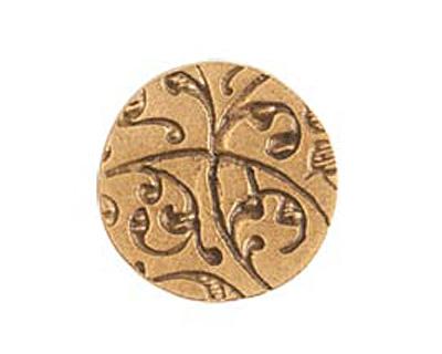 Nunn Design Antique Gold (plated) Crest Mini Circle Tag 12mm