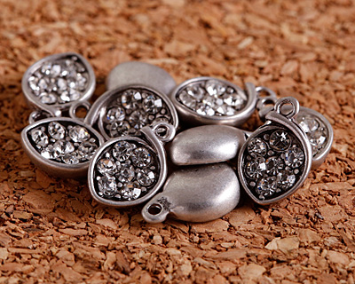 Clear Pave CZ Antique Silver (plated) Small Cupped Leaf Charm 7x11mm