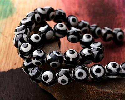 Tibetan (Dzi) Agate Black & White Round 10mm