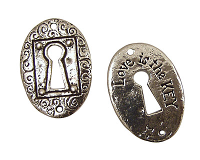 Green Girl Pewter The Key is Love Coin Link 31x22mm