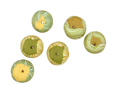 Humble Beads Polymer Clay Chartreuse Tiny Disk 7x10-11mm