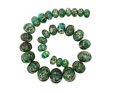Dark Emerald Impression Jasper Pumpkin Graduated 9-20x13-24mm