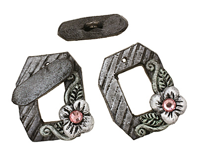 Poison Tree Polymer Clay Grey Flower Toggle Clasp 24x20mm, 21mm bar