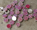 Metallic Hot Pink Crystal Druzy Coin Link in Silver Finish Bezel 16x11mm