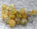 African Recycled Glass Clear w/ Citrus & Blue Flecks Tumbled Round 13-15mm