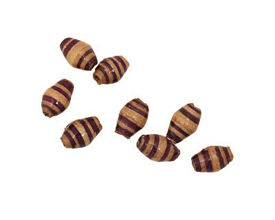 African Paper (beige, violet stipe) Rice 9-10x6mm