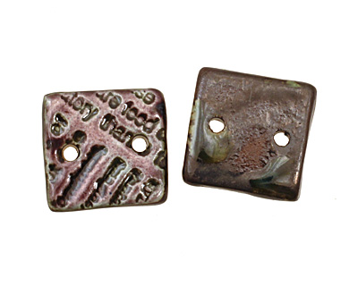 Earthenwood Studio Ceramic Amethyst Iron Small Square Text Link 19mm