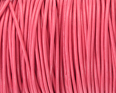 Pink Round Leather Cord 2mm