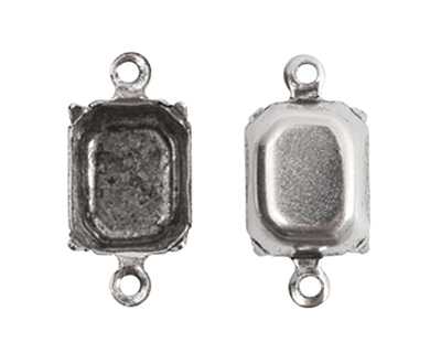 Nunn Design Antique Silver (plated) Rectangle Prong Setting 16x6mm