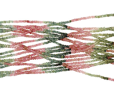 Tourmaline (Pink & Green) Faceted Rondelle 2mm