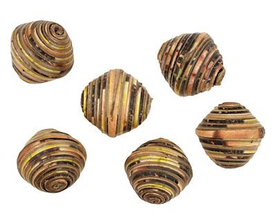 African Paper (beige, yellow, navy) Bicone 24-25x26-27mm