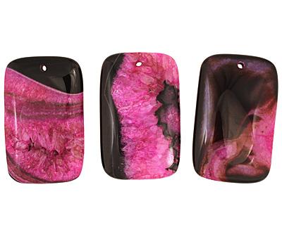 Black & Ruby Agate Rectangle Pendant 35x55mm