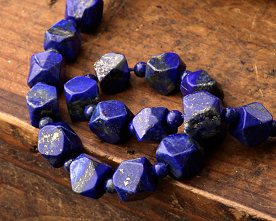Lapis Faceted Nugget 9-14x8-9mm