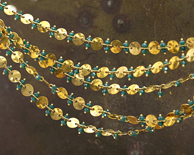 Zola Elements Dark Turquoise Crystal w/ Hammered Coin Link Brass Chain