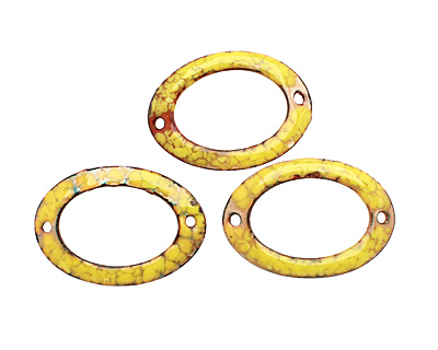C-Koop Enameled Metal Buttercup Yellow Large Oval Link 34-38x24-25mm