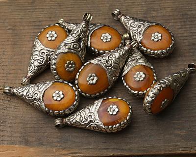 Tibetan White Brass Floral Trimmed Resin Amber Drop 25-26x54-57mm