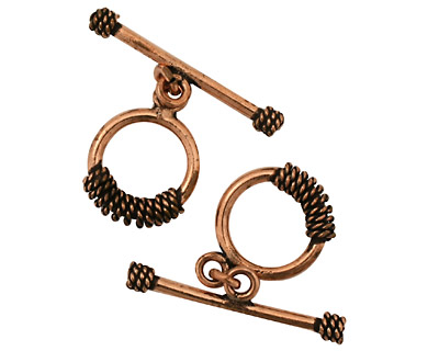 Antique Copper Roped Coil Toggle Clasp 16mm, 31mm bar