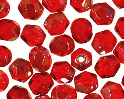Czech Fire Polished Glass Twilight Siam Ruby Round 4mm