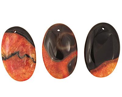 Black & Orange Agate Flat Oval Pendant 35x55mm