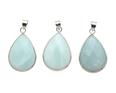 Amazonite Faceted Teardrop Silver Wrapped w/ Bail Pendant 20x30mm