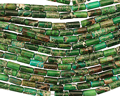 Dark Emerald Impression Jasper Tube 12x6mm