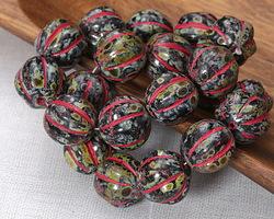 Czech Glass Dark Garden w/ Berry Melon Round 14mm
