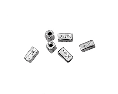 Rustic Charms Sterling Silver Faith Love Hope Bead 10x5mm