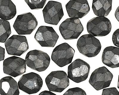 Czech Fire Polished Glass Matte Hematite Round 4mm