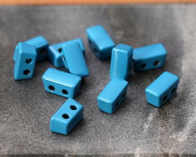 Turquoise Enamel 2-Hole Tile Thin Rectangle Bead 4x8mm