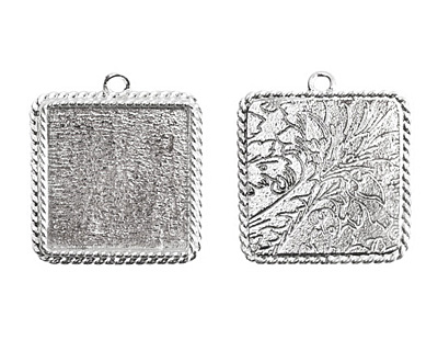Nunn Design Sterling Silver (plated) Large Ornate Square Bezel Pendant 30x34mm