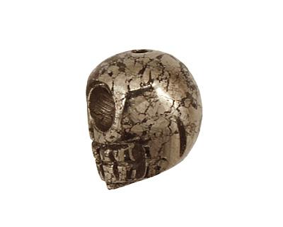 Golden Pyrite (silver tone) Skull 12x10mm
