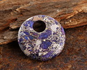Purple Mosaic Stone w/ Pyrite Coin Pendant 30mm