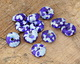 African Recycled Glass & Seed Bead Blues Donut 4-6x17-20mm