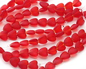 Cherry Red Recycled Glass Puffed Heart 11x12mm